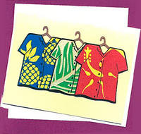 3 Aloha Shirts Greeting Card